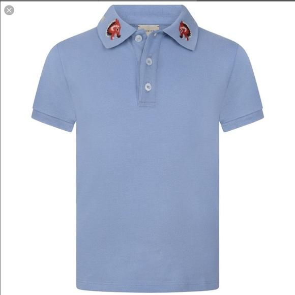 43c6dac9b71e Gucci Shirts & Tops | Boys Blue Wolf Collar Polo 100 Authentic ...